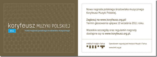 Nowa nagroda polskiego środowiska muzycznego ? Koryfeusz Muzyki Polskiej